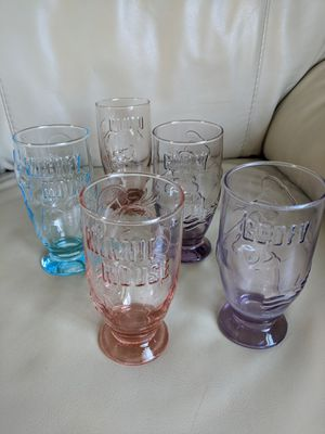 Walt Disney Co. Vintage embossed colorful pedestal drinking glasses with Mickey, Minnie, Goofy, Pluto. for Sale in Vancouver, WA