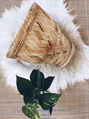 Woven Bamboo Boho Natural Plant Basket for Sale in San Diego, CA
