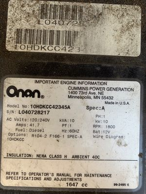 Onan 10000 commercial generator for Sale in Rancho Cucamonga, CA