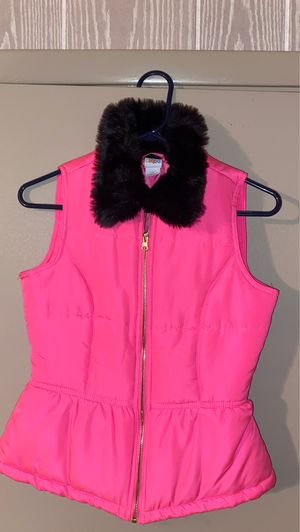 KIDS size large hot pink with black fuzzy collar vest for Sale in McDonough, GA