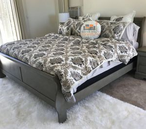 Brand New King Size Grey Wood Sleigh Bed Frame ONLY for Sale in Silver Spring, MD