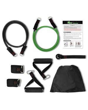NGreen Exercise and Resistance Bands Set - Homegym Stretching Fitness Tube with Door Anchor, Ankle Straps and Handles, Workout Bands for Muscle Build for Sale in Boston, MA