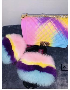 Furry Slides & Purse Bundle for Sale in Stone Mountain, GA