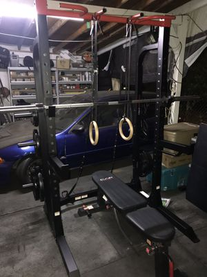 Brand new squat rack bench press weight set. for Sale in San Gabriel, CA
