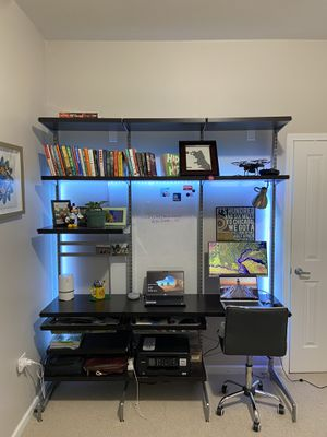 Elfa shelf home office setup. Desk/ table for work - configurable (freestanding elfa) for Sale in Chicago, IL