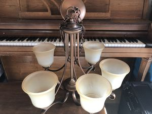 5-Light Oil-Rubbed Bronze Chandelier with Frosted White Glass Shades for Sale in Concord, CA