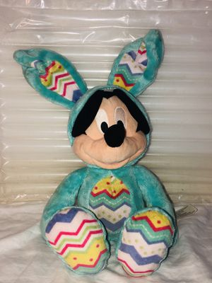 """Disney Store Blue Easter Egg Bunny Ears Mickey Mouse 17"""" Plush Stuffed for Sale in Cockeysville, MD"""