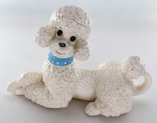 Vintage Retro Atlantic Mold White Ceramic Poodle Figure Shabby Chic Decor for Sale in Bakersfield,  CA
