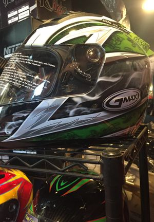 New green white dot motorcycle helmet $120 with smoked visor included for Sale in Whittier, CA