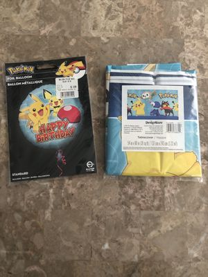 Pokémon table cloth and balloon for Sale in Garfield, NJ