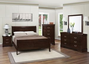 4 piece queen bedroom set queen bed frame dresser mirror nice and all solid wood for Sale in Antioch, CA