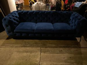Royal blue suede king couch with gold legs for Sale in Hawthorne, CA