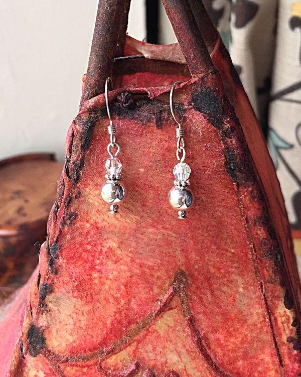 Handcrafted Silver & Crystal Women's Beaded Drop Earrings