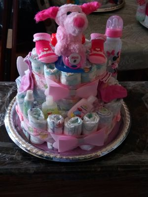 Diaper cake baby products all brand new ideal for a gift for baby shower. for Sale in Hartford, CT