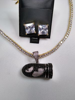 Super Mario Bullet Charm Set Includes Tennis Chain And Earrings High Quality Lab Created Diamonds for Sale in Las Vegas, NV