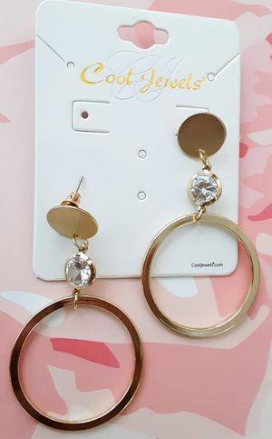 New goldtone faux diamond drop hoop post earrings for Sale in Fullerton, CA