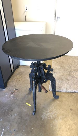 """Antique Iron Table 30"""", w/adjustable height for Sale in Riverside, CA"""