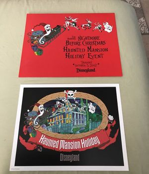 Disneyland Tim Burton's Nightmare before Christmas Haunted Mansion Holiday Event 2002 Litho for Sale in Henderson, NV