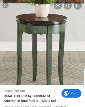 Furniture of America Molly CM-AC150GR Round Side Table Vintage Two-Tone Design Antique Brown Top Cabriole Legs Solid Wood in Green/Antique Brown for Sale in Ontario, CA