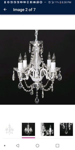Brand New Elegant Acrylic Crystal Chandelier Ceiling Light Fixture for Dining Room, Bedroom, or Foyer in White for Sale in Columbus, OH