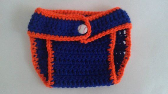 Custom to Baby Girl NY Mets Inspired Baseball Flower Button Sports Fan Photo Prop Adjustable Diaper Cover and Beanie Hat Set