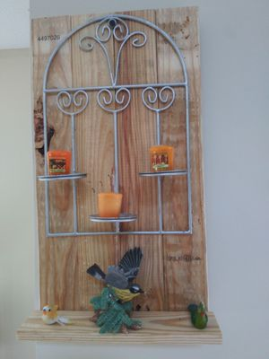 Decrotive Metal Candle Holder with display shelf for Sale in Raleigh, NC