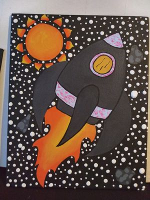 Rocket ship canvas painting for Sale in Columbus, OH