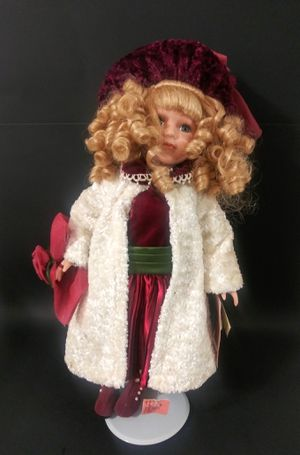 Antique porcelain doll red dress for Sale in North Bay Village, FL