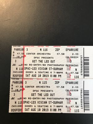 Get The Led Out Tickets... this Saturday August 10, DPAC for Sale in Raleigh, NC