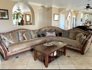 Beige Sectional Couch and Table for Sale in Hemet, CA