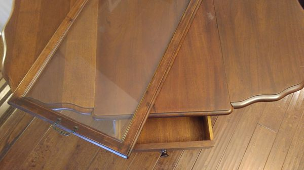 Antique Wood Tea Serving Cart w/ Drop Leaf Table w/ Glass Serving Tray
