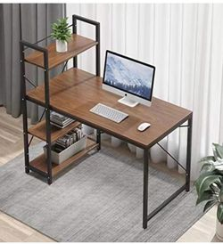 Tower Computer Desk with 4 Tier Storage Shelves - 47.6'' Multi Level Writing Study Table with Bookshelves Modern Steel Frame Wood Desk Compact for Sma for Sale in Corona,  CA