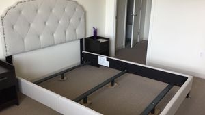Queen Bed Frame Linen Color with Box Spring for Sale in Cambridge, MA