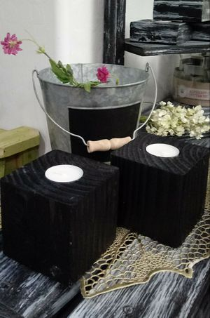 "3-1/2""H X 3-1/2""W X 3-1/2""D 🌱(2 Pcs./Set) Solid Wood Tea Light Candle Holders ::: Rustic Black for Sale in Las Vegas, NV"