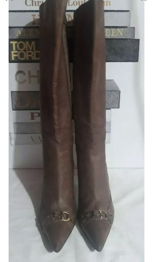 Christian Dior CD Tall Brown Leather Zip Heeled Boots 39 8. for Sale in Glendale, CO