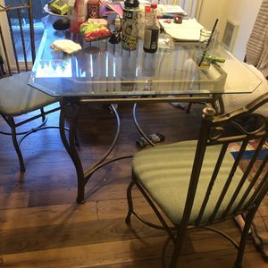 Glass Dining Table With 6 Chairs for Sale in Damascus, OR