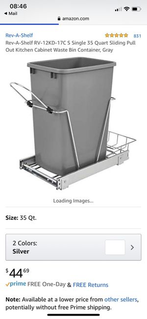 Sliding Pull Out Kitchen Cabinet Waste Bin - Chrome for Sale in Los Angeles, CA