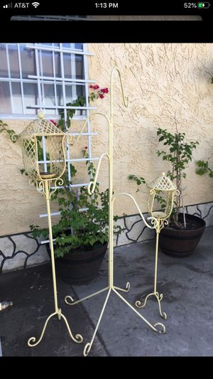 BEAUTIFUL HEAVY IRON PLANTS HANGER AND CANDLE HOLDERS STANDS ($125 FIRM FOR ALL 3) EXCELLENT CONDITION for Sale in Fresno, CA