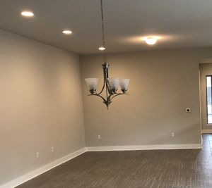 5-lamp brushed nickel chandelier - dining room light for Sale in Austin, TX