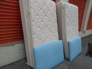2 like new twin sz mattress sets + blue headboards for Sale in Nashville, TN