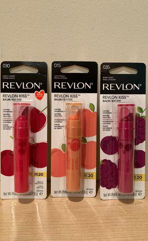 Set of 3 Revlon Kiss lip balm: cherry, peach and berry for Sale in Alexandria, VA