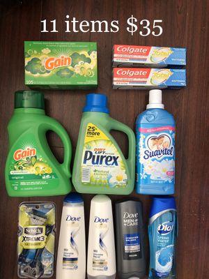 3 Dove: 2 Shampoo & Conditioner & 1 Body Wash; 2 Gain; 1 Purex; 1 Suavitel; 1 Dial Body Wash; 1 Schick Extreme 3 Razors; 2 Colgate Toothpastes: 11 It for Sale in East Los Angeles, CA