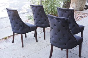 """#100414 Set of 4 Black Velvet Chairs by Anji Haolin Furniture 21"""" Wide x 21"""" Deep x 39"""" Tall for Sale in Oakland, CA"""