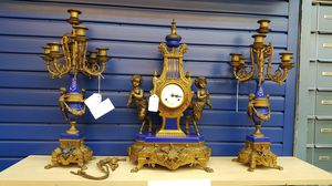 Imperial Brevettato Brass and Marble Mantle Clock and Candelabra Set for Sale in Watauga, TX