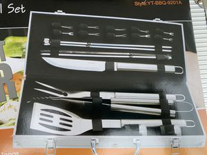 New new never use BBQ Grill Accessories Set for Men, 21PCS Grilling Accessories Set, Stainless Steel BBQ Tools Gift Utensil with Spatula, Tongs, Skew for Sale in La Puente, CA