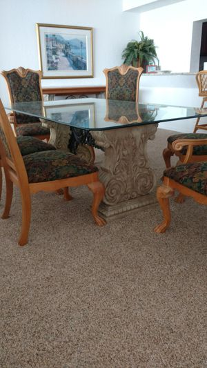 Impressive glass top dining table 6 chairs conference table wood chairs for Sale in Cocoa Beach, FL