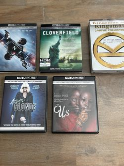 Lot of 6 4K Blu Ray Movies Tenet Cloverfield Atomic Blonde for Sale in Houston,  TX