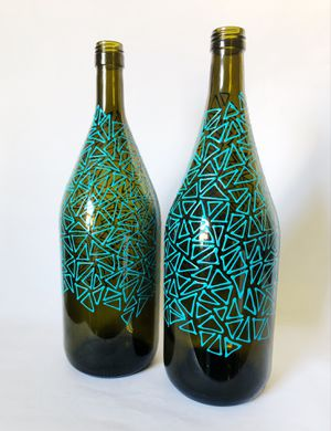 2 large blue triangle painted wine bottles || numbered and signed for Sale in Charlotte, NC