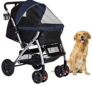 HPZ PET ROVER PREMIUM HEAVY DUTY DOG/CAT/PET STROLLER TRAVEL CARRIAGE WITH CONVERTIBLE COMPARTMENT/ZIPPERLESS ENTRY/REVERSIBLE HANDLEBAR/PUMP-FREE RU for Sale in Las Vegas, NV