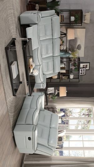 Darwan Light Gray Microfiber Double Lay Reclining Living Room Set | 9999 for Sale in Austin, TX